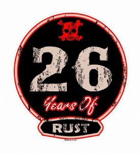 Distressed Aged 26 Years Of Rust Motif For Retro Rat Look VW etc. External Vinyl Car Sticker 100x90mm